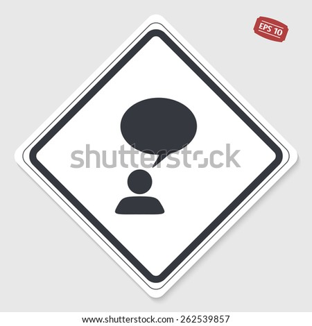 A person with a cloud. Human thought bubble above his head. Flat design style. Made in vector illustration. Emblem or label with shadow. - stock vector
