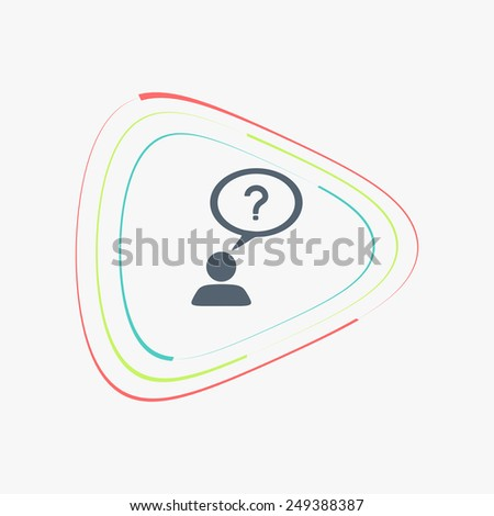 A person with a cloud. Question mark. Human thought bubble above his head. Flat design style. Made in vector illustration - stock vector