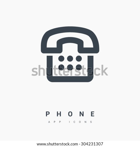 a phone icon in black and white colors. Line vector icon for websites and apps mobile minimalistic flat design - stock vector