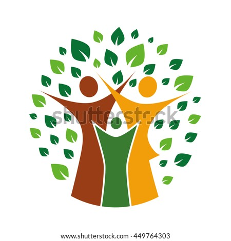 A pictographic image of a green family - stock vector