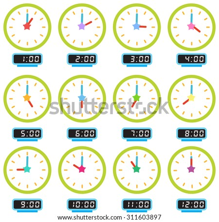 A picture of 12 clocks showing every hour - stock vector