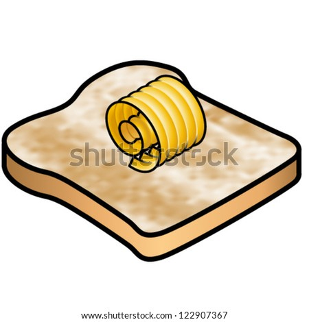 A piece of lightly toasted bread topped with a curl of butter. - stock vector