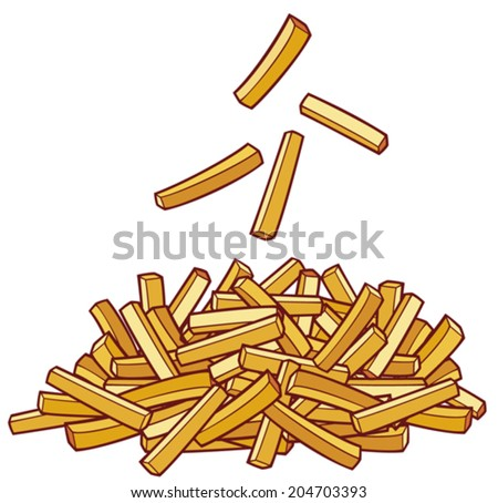 a pile of french fries - stock vector