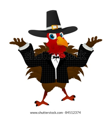 A pilgrim turkey cartoon over white background. No blend or gradient mesh used. - stock vector