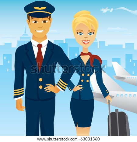 A pilot and stewardess in uniform in an urban airport setting. - stock vector
