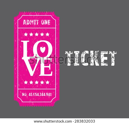 a pink and black love ticket - stock vector