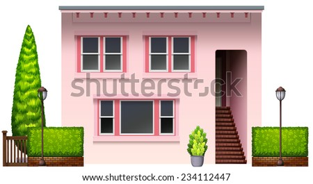 A pink office building on a white background  - stock vector