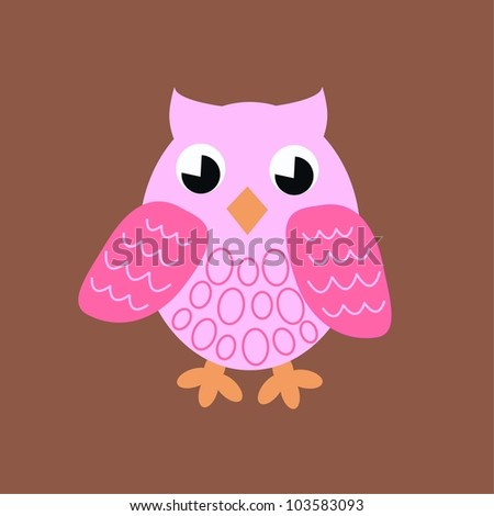 a pink owl on brown background - stock vector