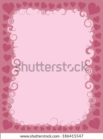 A pink swirly border intertwined with hearts representing the holiday of St. Valentine's Day. - stock vector