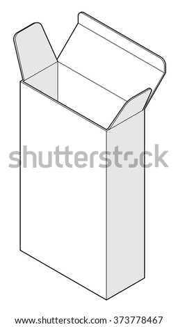 A plain buff carton: tall and thin with three top flaps. - stock vector
