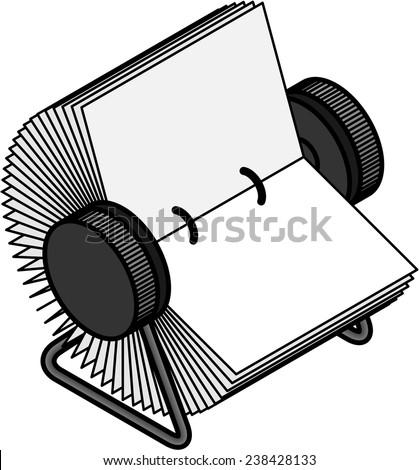 A plain rotary business card / index card file. - stock vector