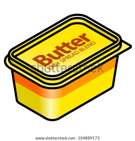 A plastic tub of butter easy spread blend. - stock vector