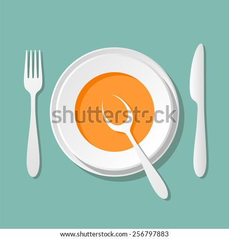 a plate of soup, tableware knife fork spoon - good appetite - stock vector