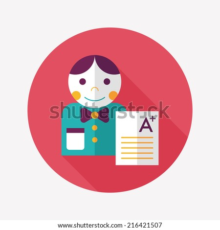 A plus grade in the notebook,flat icon with long shadow,eps10 - stock vector