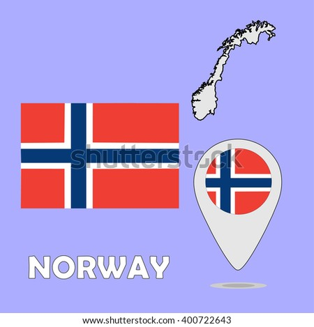 A pointer map and flag of Norway - stock vector
