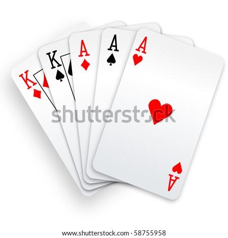 A Poker Hand Full House three Aces and pair of Kings playing cards. - stock vector