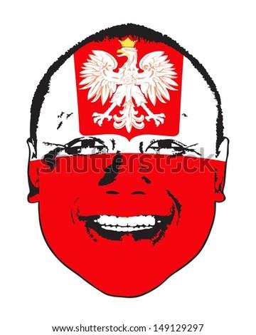 A Poland flag on a face, isolated against white.  - stock vector
