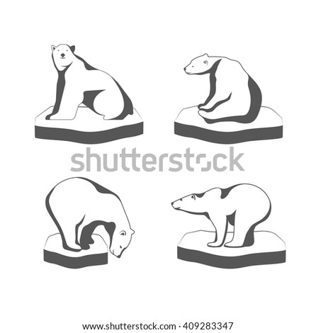 A polar bear sits on the ice the symbol of the Arctic. - stock vector
