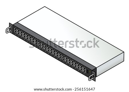 A 48-port ethernet network switch. With two uplink ports, a USB port and a serial console port. - stock vector