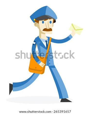 a postman delivering mail - stock vector