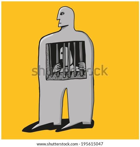 a prisoner inside - stock vector