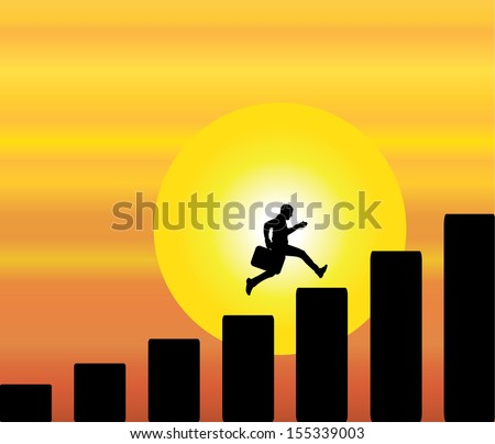 A professional businessman running and taking success steps with a bright orange evening sky with big yellow sun in the background - stock vector