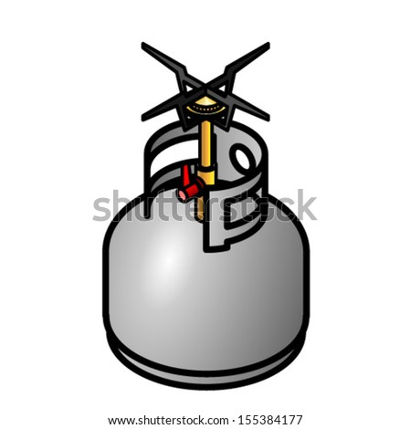 A propane gas bottle with a camp stove / burner attachment. - stock vector
