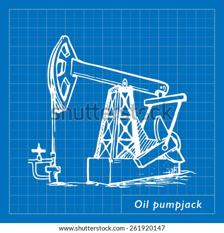A pumpjack is the overground drive for a reciprocating piston pump in an oil well. EPS10 vector illustration imitating blueprint style scribbling with white marker. - stock vector