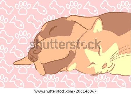 A puppy with a kitten sleeping together calm - stock vector