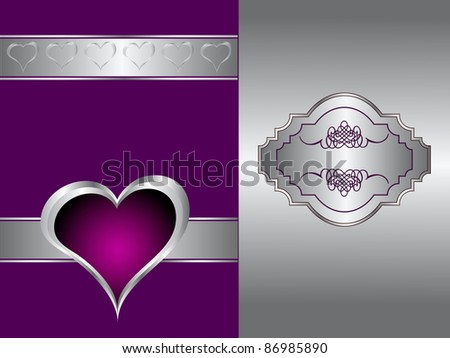 A purple hearts Valentines Day Background with a silver hearts on a purple and silver background - stock vector