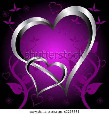 A purple hearts Valentines Day Background with silver hearts and flowers on a darker graduated background - stock vector
