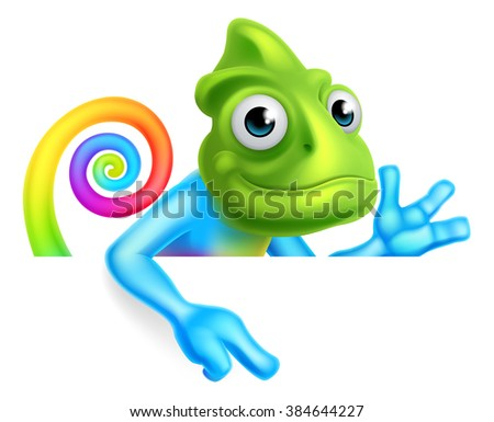 A rainbow cartoon chameleon lizard character mascot pointing down at a sign - stock vector