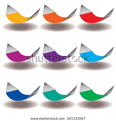 A Rainbow of Nine hammocks for Print or Web - stock vector