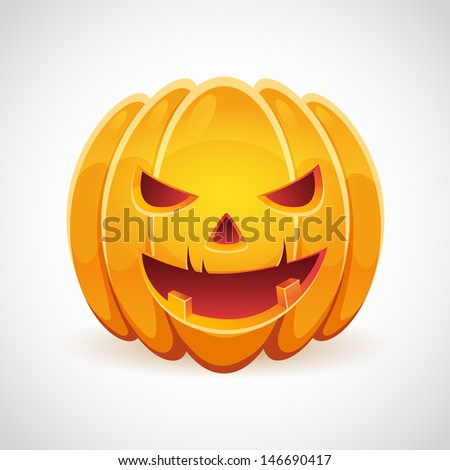 A realistic Halloween pumpkin with evil grin smile card isolated - stock vector