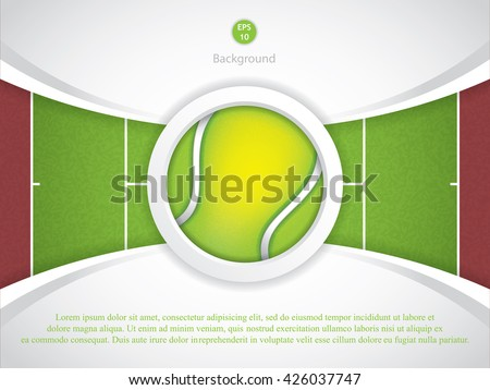 A realistic textured tennis field and tennis ball illustration. - stock vector