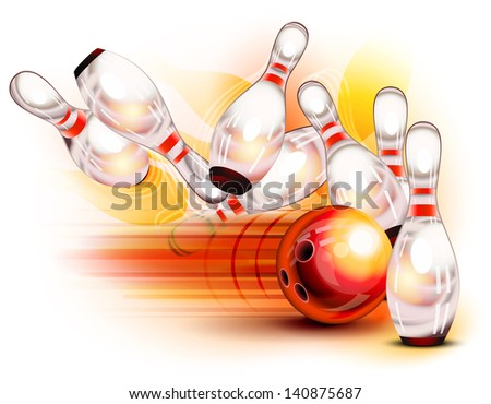 A red bowling ball crashing into the pins - stock vector