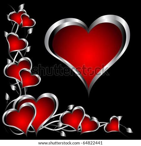 A red hearts Valentines Day Background with silver hearts and flowers on a black background - stock vector