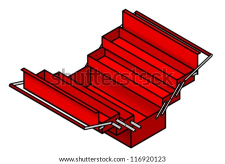 A red metal toolbox shown opened to reveal drawers and compartments. - stock vector