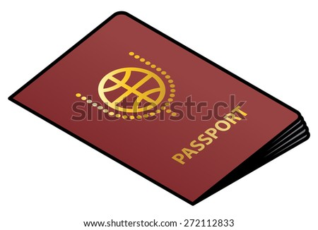 A red passport with gold lettering and crest. - stock vector