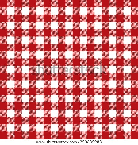 A red pattern checkered tablecloth illustration. Vector EPS 10. - stock vector