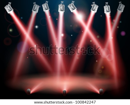 A red spotlight background concept with lots of lights like spotlights in a light show or during a dramatic theatre stage performance - stock vector