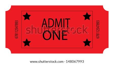 A Red Ticket. Vector - stock vector