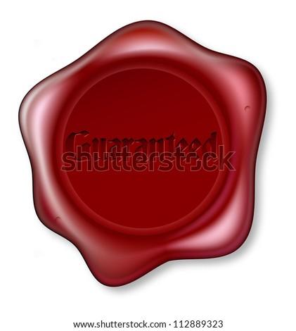 A red wax seal bearing the word Guaranteed - stock vector