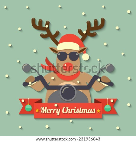 A reindeer wearing sunglasses and riding motorcycle within Merry Christmas ribbon badge on snow background. vector. - stock vector