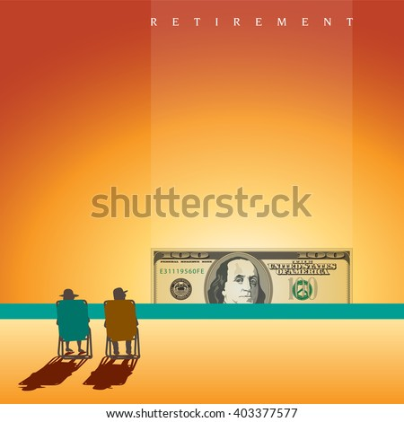 A retired couple on the beach with enough money and space for text  - stock vector