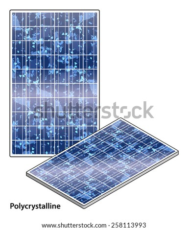 A rigid polycrystalline solar panel. - stock vector