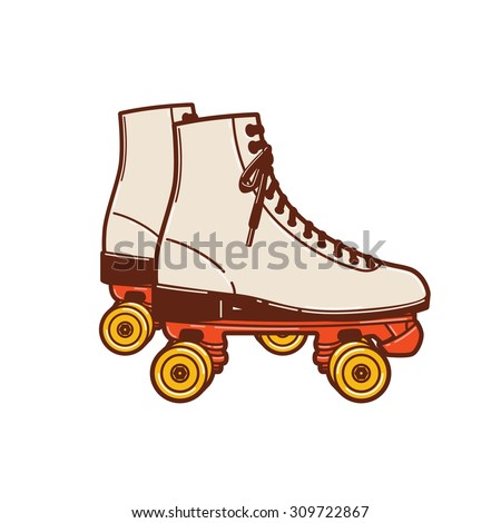 A roller skate classic commonly used and popular in the 70s and 80s, even early 90s. - stock vector