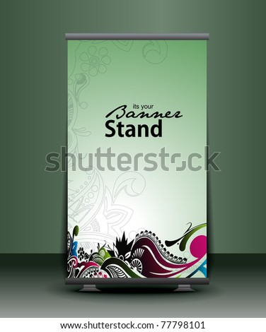 a rollup display with stand banner template design, vector illustration. - stock vector