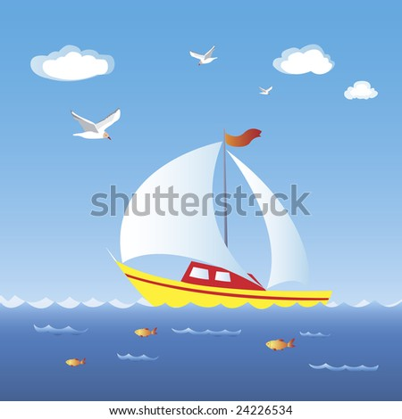 A sailboat moving on full speed in blue sea - stock vector