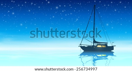 A Sailing Boat with Night Sky and Reflection on Water. Vector EPS 10 - stock vector